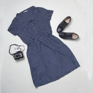 Land's End Canvas Silk Polkadot Dress Blue White